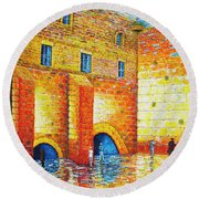 Round Beach Towel featuring the painting Wailing Wall Original Palette Knife Painting by Georgeta Blanaru