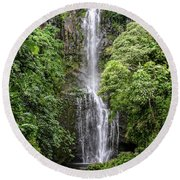 Wailua Falls On The Road To Hana, Maui, Hawaii Round Beach Towel by Peter Dang