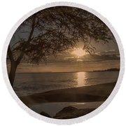 Waimea Bay Sunset 4 Round Beach Towel