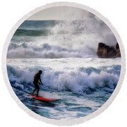 Waimea Bay Surfer Round Beach Towel