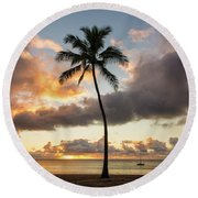 Waimea Beach Sunset - Oahu Hawaii Round Beach Towel