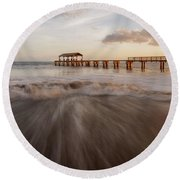 Round Beach Towel featuring the photograph Waimea Pier by Dustin LeFevre
