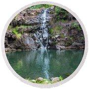 Waimea Waterfall Horizontal Round Beach Towel