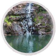 Waimea Waterfall Vignette Round Beach Towel