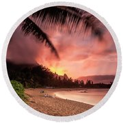 Wainiha Kauai Hawaii Bali Hai Sunset Round Beach Towel