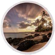Wainiha Kauai Hawaii Sunrise  Round Beach Towel