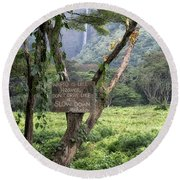 Waipio Valley Road Rules Round Beach Towel