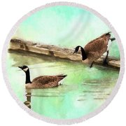 Round Beach Towel featuring the painting Wait For Me - Wildlife Art by Jordan Blackstone