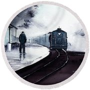Round Beach Towel featuring the painting Waiting by Anil Nene