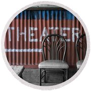 Corrugated Metal Theater Sign Round Beach Towel