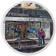 Round Beach Towel featuring the photograph Waiting By O' Callaghans by Dave Luebbert