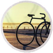 Waiting For A Rider Round Beach Towel by Joseph S Giacalone
