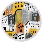 Waiting For Autumn- Expressionist Art Round Beach Towel