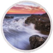 Round Beach Towel featuring the photograph Waiting For Breakfast by Darren White