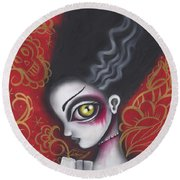 Waiting For  Frankenstein  Round Beach Towel by Abril Andrade Griffith