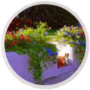 Round Beach Towel featuring the painting Waiting For Friends by David  Van Hulst