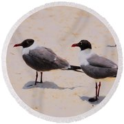 Round Beach Towel featuring the photograph Waiting For Handouts by Jan Amiss Photography