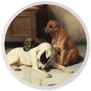 Waiting For Master Round Beach Towel by William Henry Hamilton Trood
