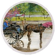 Round Beach Towel featuring the painting Waiting For Rider Jakarta Indonesia by Melly Terpening