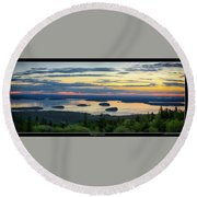Waiting For Sunrise, Acadia National Park Round Beach Towel by Brian Caldwell