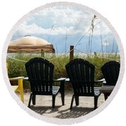 Waiting For Sunset Round Beach Towel