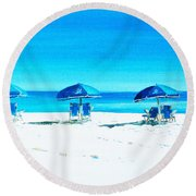 Waiting For The Beach Sitters Round Beach Towel