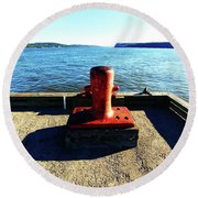 Waiting For The Ship To Come In. Round Beach Towel