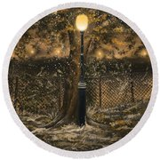Round Beach Towel featuring the painting Waiting For The Snow by Veronica Minozzi