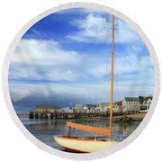 Round Beach Towel featuring the photograph Waiting For The Tide by Roupen  Baker