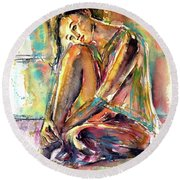 Round Beach Towel featuring the painting Waiting For You by Kovacs Anna Brigitta