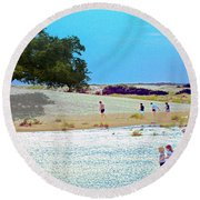 Waiting In The Water Round Beach Towel