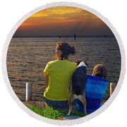 Waiting.......... Round Beach Towel by Judy Johnson