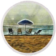 Round Beach Towel featuring the mixed media Waiting On High Tide by Trish Tritz
