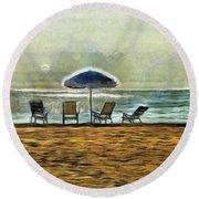 Waiting On High Tide Round Beach Towel by Trish Tritz