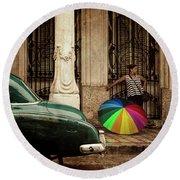 Waiting Out The Rain In Havana Cuba Round Beach Towel