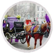 Round Beach Towel featuring the photograph Waiting by Sandy Moulder