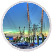Round Beach Towel featuring the photograph Waiting Shrimp Boats Wilmington River Tybee Island Georgia Art by Reid Callaway