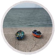 Waiting To Go To Sea Round Beach Towel