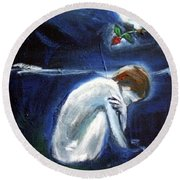 Round Beach Towel featuring the painting Waiting by Winsome Gunning