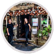 Waitresses At Outdoor French Terroir In Old Quebec City Round Beach Towel