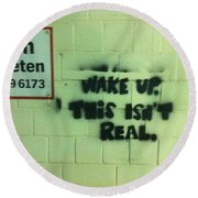 Wake Up Round Beach Towel