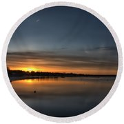 Waking To A Cold Sunrise Round Beach Towel