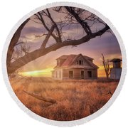 Round Beach Towel featuring the photograph Waking Up With A Friend by Darren White