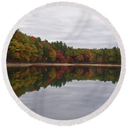 Walden Pond Fall Foliage Concord Ma Reflection Trees Round Beach Towel
