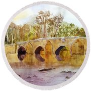 Wales Dipping Bridge Round Beach Towel by Larry Hamilton