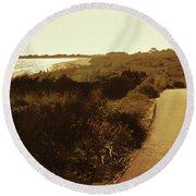 Round Beach Towel featuring the photograph Walk Along The Beach by Cassandra Buckley