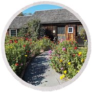 Walk Among The Zinnias Round Beach Towel by Catherine Gagne
