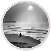 Round Beach Towel featuring the photograph Walk Beneath The Moon by Karen Wiles