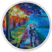 Round Beach Towel featuring the painting Walk By The Lake  by Leslie Allen