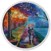 Round Beach Towel featuring the painting Walk By The Lake Series 1 by Leslie Allen